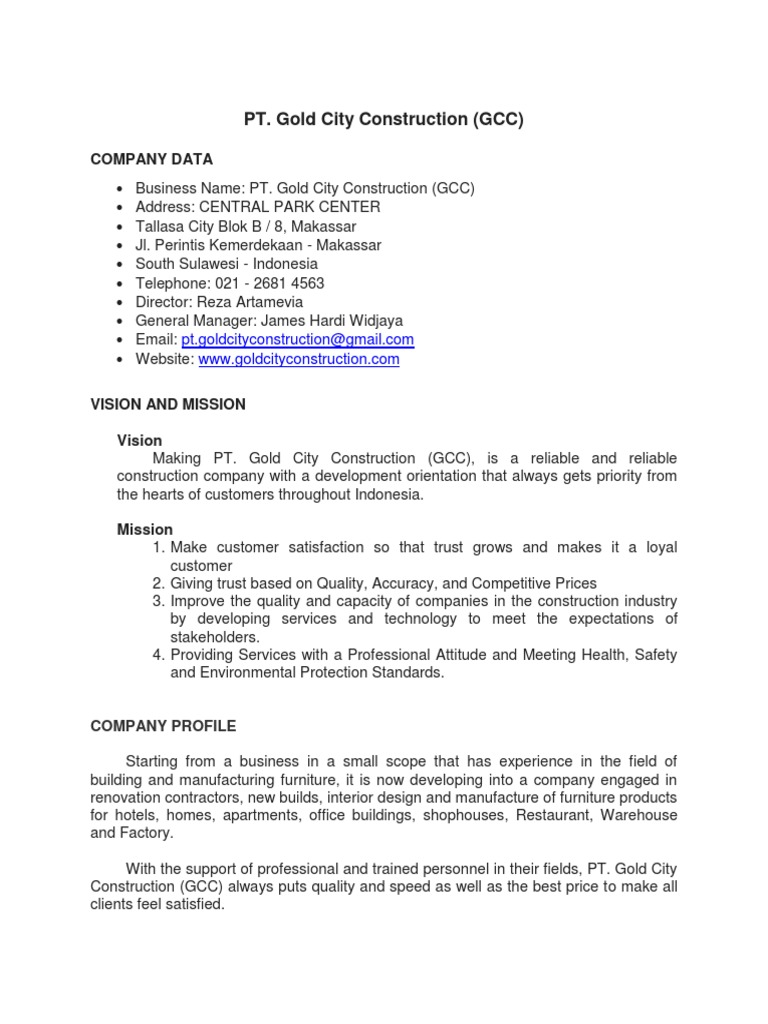 interior design and construction company profile example