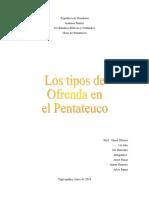 Resumen Exposicion Los Tipos de Ofrenda en El Pentateuco