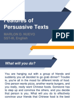 Features of Persuasive Texts