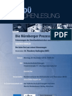 """""""Die Nürnberger Prozesse. Erinnerungen des Simultandolmetschers Siegfried Ramler"""" - Eine Lesung mit Siegfried Ramler in Erlangen"""
