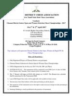 Chennai District Selection Tournament Prospectus 2017