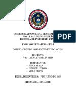 Informe Dosificacion de Hormigones Método Americano Aci 211