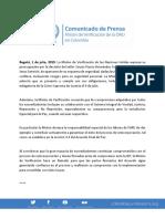 Unvmc Comunicado de Prensa Julio 1, 2019.