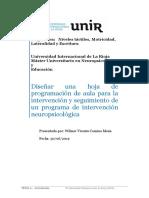 Diseñar Una Hoja de Programación de Aula Para La Intervención y Seguimiento de Un Programa de Intervención Neuropsicológica