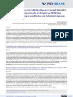 Revistas Científicas Em Administração- o Papel Histórico