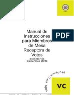 Manual de Instrucciones para miembros de mesa receptora de votos