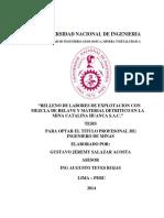 Relleno de Labores de Explotación Con Mezcla de Relave y Material Detritico en Catalina Huanca