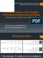 Parametric Studies of Floor Rotation Performance of Assymmetrical Building Affected by Pulse Ground Motion