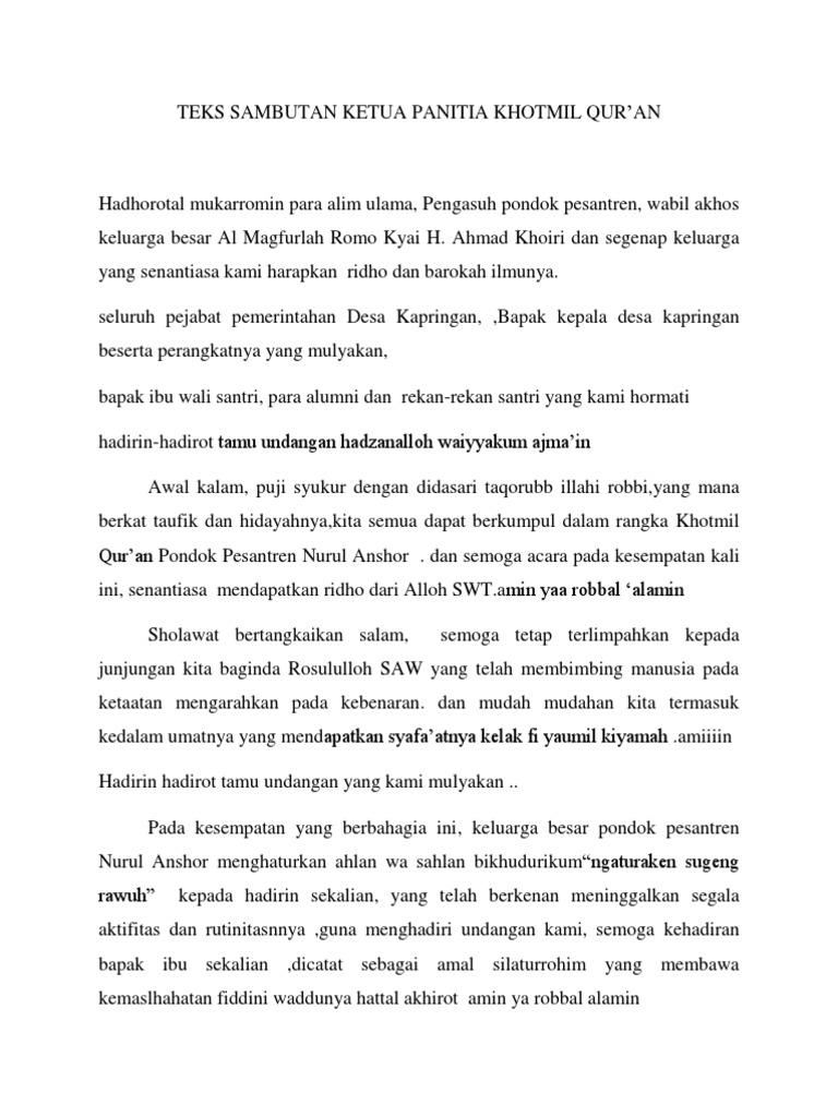Teks Sambutan Ketua Panitia Khotmil Qur An 2019 Nurul Anshor