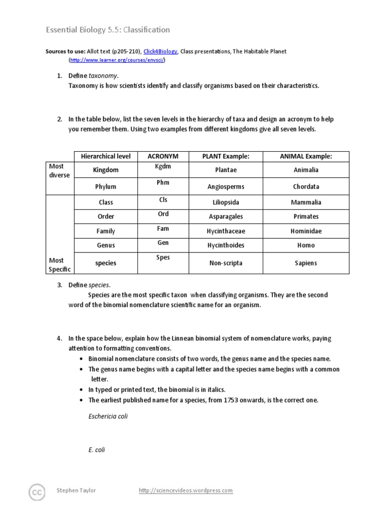 worksheet Classifying Organisms Worksheet yacomine essentialbiology05 5 classification