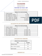 Tax Rates --- For the Tax Year - 2019
