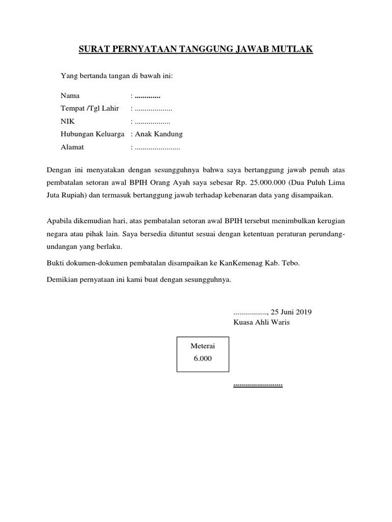 Surat Pernyataan Tanggung Jawab Mutlak Pembatalan Bpih