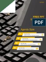 Computer Golden Key PowerPoint Template 1