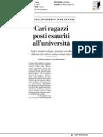 Cari ragazzi, posti esauriti all'università - La Repubblica del 1 luglio 2019