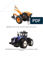 Hand Tractor is Used to Pull a Plow and Harrow in Preparing a Large Area of Land