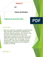 Module 8 - Neo Behaviourism of Tolman and Bandura