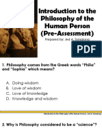 Introduction to Philosophy of Human Person (Pre-Assessment)