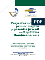 Proyectos de ley de primer empleo y pasantía juvenil en RD, 2019