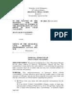 JA Jean Colis Petition for Correction