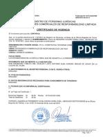 Certificado de Vigencia de Poder Gerente