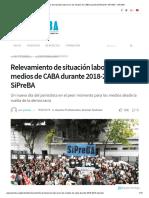 Relevamiento de Situación Laboral en Los Medios de CABA Durante 2018-2019, SiPreBA – SiPreBA