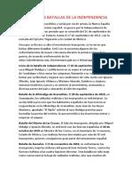 Principales Batallas de La Independencia Del Peru