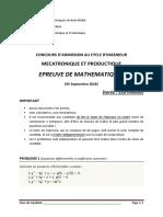 Exa Math Mecatronique 2018