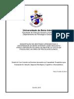 Estudo de Caso Controlo em Pacientes internados em Comunidade Terapêutica para Tratamento de Adicções
