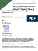 Ley No. 367-05 Que Eleva La Sección Carrera de Yegua