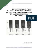 Asesoría Geomecanica Para La Evaluación Del Metodo de Explotacion Subterraneo en Ticlio