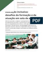 Educação Inclusiva Desafios Da Formação e Da Atuação Em Sala de Aula