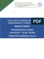 Resultados Provision de Plazas - Fcjep Filial Tacna Dc