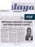 Malaya, July 3, 2019, DBM delays submission of budget until House speaker is named.pdf
