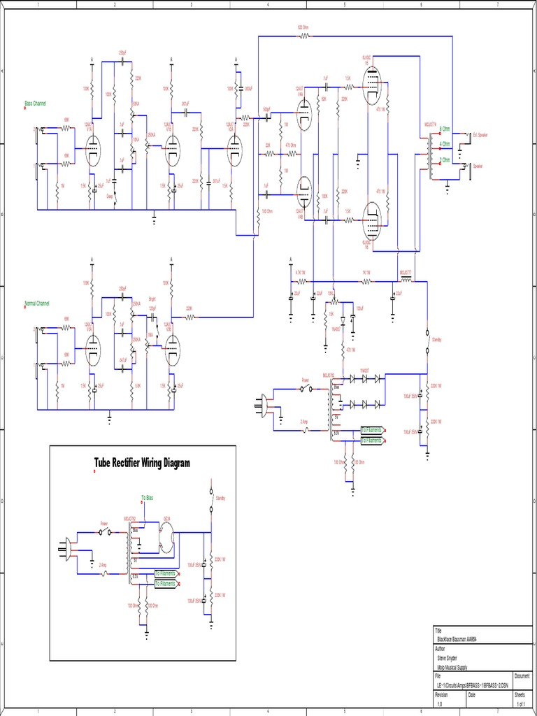Tube Rectifier Wiring Diagram  Bass Channel