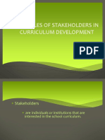 The Roles of Stakeholders in Curriculum Development