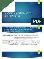 Good Qualities of an Entrepreneur
