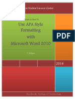 Elftmann APA Style Formatting With Microsoft Word 2010