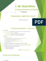 Programação e Algoritmos Aula 01