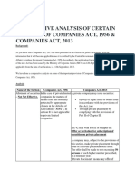 Comparitive Analysis of Certain Sections of Companies Act, 1956 & Companies Act, 2013