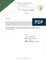 Letter to Toms River parents