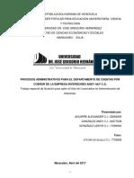 Procesos Administrativos Para El Departamento de Cuentas Por Cobrar de La Empresa Inversiones Angy a&y c.a.