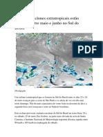 Mais Dois Ciclones Extratropicais Estão Previstos Entre Maio e Junho 2019 No Sul Do Brasil