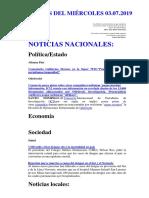 Noticias Del Miércoles 03.07.2019