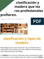 Conozca. Clasificación y Tipos de Madera Que Los Carpinteros Profesionales Prefieren. – Rincón de Maestros
