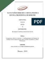 Comentarios Sobre Los Artículos 1-7 Del-Reglamento Del Registro de Trabajos de Investigación Para Optar El Grado Académico y Título Profesional.
