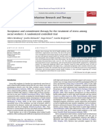 ACT for the treatment of stress among social workers. A randomized control trial.pdf