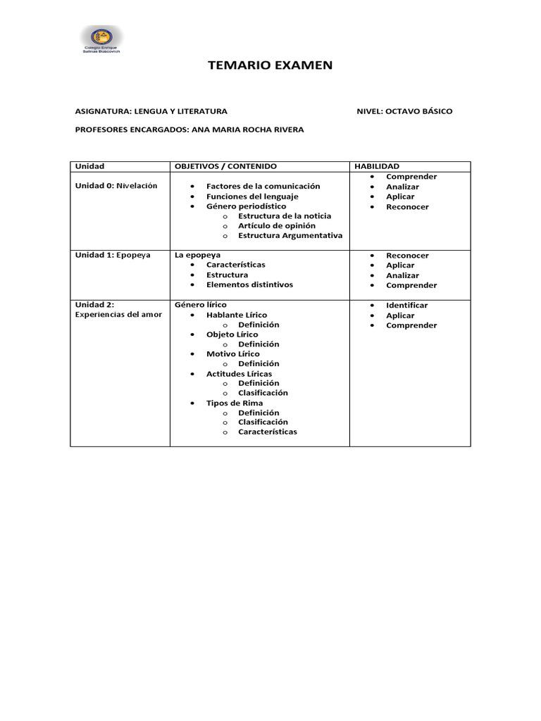 Temario De Examenes 8vo