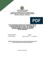 """PLAN ESTRATÉGICO BASADO EN LA METODOLOGÍA DEL COACHING EMPRESARIAL PARA EL PERSONAL DE LA FUNDACIÓN SOCIO CULTURAL """"DR. DIÓGENES  ALFONZO FERRER"""" UBICADA EN CARIPITO  ESTADO MONAGAS"""