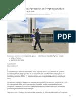 0. 2019_JUL. Bolsonaro Já Enviou 34 Propostas Ao Congresso