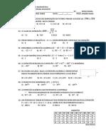 Avaliação Bimestral de Matemática